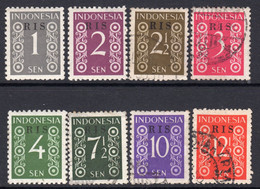 Indonesia 1950 RIS Overprinted Definitives Part Set Of 8 To 12½c, Used, Between SG 579/87 (A) - Indonesien