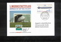 Germany / Deutschland 2008 Zeppelin NT First Flight Of The Zeppelin NT N07 Nr.4 D-LZNT Interesting Cover - Zeppelins