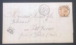 OBP 33 Op Briefomslag Quaregnon - Petit Fresnes (Fra) - France Midi I - Obl. TELEGRAPHE QUAREGNON - 1869-1883 Leopoldo II