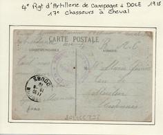 JURA  :  4e Régiment D'Artillerie De Campagne , 17e Chasseurs à Cheval à DOLE  En 1918 - 1. Weltkrieg 1914-1918