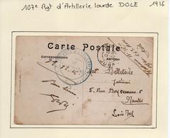 JURA  : 107e Régiment D'Artillerie Lourde  à  DOLE En 1916 - 1. Weltkrieg 1914-1918