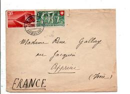 SUISSE AFFRANCHISSEMENT COMPOSE SUR LETTRE AMBULANT POUR LA FRANCE 1947 - Covers & Documents