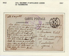 JURA  : 107e Régiment D'Artillerie Lourde  à  DOLE En 1917 - 1. Weltkrieg 1914-1918