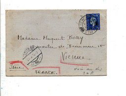 GB SEUL SUR LETTRE POUR VIENNE ISERE ET ARRIVEE PAR  ERREUR A VIENNE AUTRICHE 1938 OUVERTE PAR LES DOUANESAUTRICHIENNES - Covers & Documents