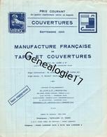 75 23837 PARIS 1937 Tarif MANUFACTURE FRANCAISE DE TAPIS COUVERTURES M. LAINE MELLERIO VANDIER WATTEL RASON COMMUNEAU - 1900 – 1949
