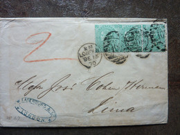 1870   Letter  Victoria  1s Green (x3)   London  PERFECT - Postmark Collection