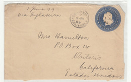 Argentina Postal Stationery Letter Cover Posted 1899 Buenos Aires To Ontario (California) B210725 - Postal Stationery