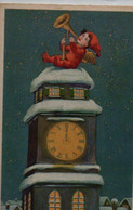Lllustrée : Ange Jouant De La Trompette . Beffroi, Pendule, Neige - Nouvel An