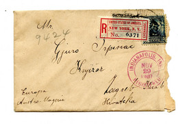 US Letter Cover Registered Posted 1907 Indianapolis To Zagreb B210725 - 1901-20