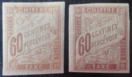 R2269/10 - 1893/1908 - COLONIES FR. - TIMBRES-TAXE - N°24 Brun-jaunâtre NEUF*/(*) + N°24a Brun Violacé NEUF* - Postage Due