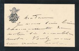 Carte Autographe Signée SARAH BERNHARDT à Une Dame Remerciements 1889 Recto Verso - Autographes
