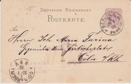 REDUZIERT DR Ganzsache Berlin Aku Haller Maschinenstempel Köln 1885 - Machine Stamps (ATM)