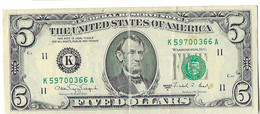 STATI UNITI - UNITED STATES - 5 US $ 5 DOLLARI  LINCOLN - WYSIWYG  - N° SERIALE K59700366A - CARTAMONETA - PAPER MONEY - Other