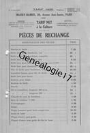 75 23909 PARIS SEINE 1926 TARIF PRIX Machines Agricoles MASSEY - HARRIS Machine Agricole Avenue Jean Jaures - Landbouw