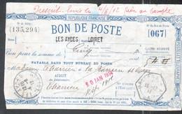 Loiret, Bon De Poste Du Bureau Des Aydes, Verso Cachet D'Orleans Au Verso - Documents Of Postal Services