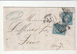 Lettre Avec Classiques De France:2 Cérès Bordeaux N°46B+ Variété Trait Blanc Sur Tête, Facture Toiles, Soieries,Toulouse - 1870 Ausgabe Bordeaux