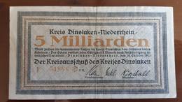Deutschland / Germany Notgeld 5 Milliarden Mark 1923 Dinslaken - Niederrhein - [11] Emissions Locales