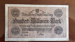 Deutschland / Germany Notgeld 100 Millionen Mark 1923 Duisburg - [11] Emissions Locales