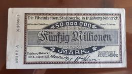 Deutschland / Germany Notgeld 50 Millionen Mark 1923 Rheinische Stahlwerke Duisburg - Meiderich - [11] Emissions Locales
