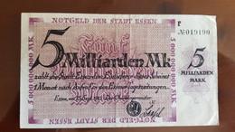 Deutschland / Germany Notgeld 5 Milliarden Mark 1923 Essen - [11] Emissions Locales