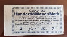 Deutschland / Germany Notgeld 100 Millionen Mark 1923 Hamborn Neumühl Steinkohlebergwerk - [11] Emissions Locales