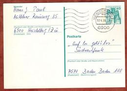 Ganzsachenpostkarte, Burg Eltz, MS Welle Heidelberg, 1978 (4874) - Cartes Postales - Oblitérées