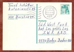 Ganzsachenpostkarte, Burg Eltz, MS Welle Dorsten, 1978 (4875) - Cartes Postales - Oblitérées
