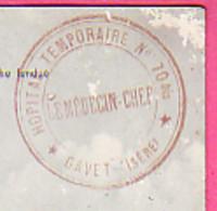 MILITARIA MEDECINE CACHET ROND HOPITAL TEMPORAIRE N° 70 Bis GAVET ISERE  LE MEDECIN CHEF SUR  CARTE DE RIOUPEROUX - 1914-18