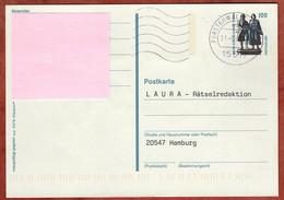 Ganzsachenpostkarte, Goethe-Schiller-Denkmal Weimar, MS Welle Fuerstenwalde, 1998 (4876) - Cartes Postales - Oblitérées
