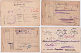 Carte Postale Prisonnier De Guerre Français Poulain Celle Lager Camp Lot 4 Cartes Censure Franchise Geprüft Germany POW - 1. Weltkrieg 1914-1918