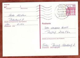 Ganzsachenpostkarte, Schloss Rheydt, MS Welle Kiel, 1988 (4877) - Cartes Postales - Oblitérées