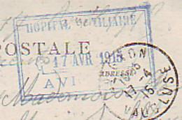 MILITARIA MEDECINE CACHET RECTANGULAIRE AVEC CADRE HOPITAM MILITAIRE 17 AVRIL 1915 AVIGNON  SUR CARTE AVIGNON - 1914-18