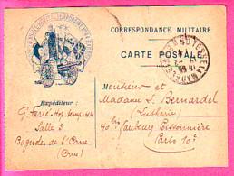 MILITARIA MEDECINE CACHET ROND 4° CORPS D'ARMEE HOPITAL TEMPORAIRE N° 44 BAGNOLES SUR CARTE CORRESPONDANCE MILITAIRE - 1914-18