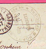 MILITARIA MEDECINE CACHET ROND HOPITAL BENEVOLE 104 Bis OFFICIERS VILLA LILITEIA BIARRITZ SUR - 1914-18