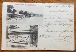 SIRIA - SOUVENUR D'ANTIOCHE - CARTOLINA DA ALEPPO 13 MARZO 1901+ CONSOLATE-GALATA /MARS 1901 /DEPART PER COMO - ITALY - Syrië
