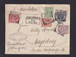 1905 - 10 C. Ganzsache Mit 4-Farbenzufrankatur Ab Paramaribo Nach Magdeburg - Suriname ... - 1975
