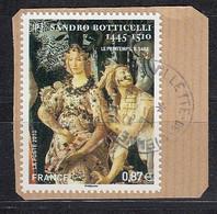 < France Adhésif AA 492 (4518)..oblitéré Sur Fragment .. Sandro Botticelli Zephyr Et La Nymphe Chloris Fleur - Luchtpost