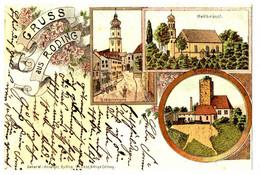 Litho Gruss Aus Roding, 3 Bilder, Gel. 11.1.1899 - Roding