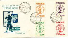 Vietnam FDC 26-10-1963 The Republican Combatant Complete Set Of 4 With Cachet - Vietnam