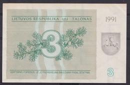 Ref. 2901-3324 - BIN LITHUANIA . 1991. LATVIA 3 TALONAS 1991 - Lituanie