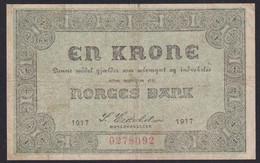 Ref. 2357-2780 - BIN NORWAY . 1917. NORWAY NORGES BANK 1917 1 KRONER - Norway