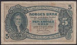 Ref. 2244-2667 - BIN NORWAY . 1943. NORWAY NORGES BANK 1943 5 KRONER - Norway