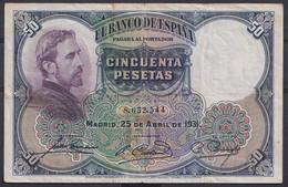 Ref. 291-4444 - BIN SPAIN . 1931. 50 Pesetas April 25th 1931 E.Rosales. 50 Pesetas 25 De Abril 1931 E.Rosales - 50 Pesetas