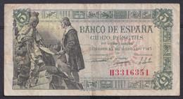 Ref. 182-4468 - BIN SPAIN . 1945. 5 Pesetas Estado Espa�ol 15 Junio De 1945. 5 Pesetas Estado Espa�ol 15 Junio De 1945 - 5 Pesetas