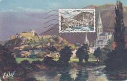 21029 -FRANCE-1954-N° Y&T 976-Carte Maximum Lourdes Basilique Et Château 28/02/58 - Zonder Classificatie