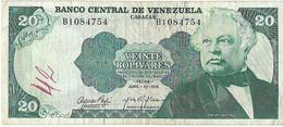VENEZUELA 20 BOLIVARES 1974 - WYSIWYG  - N° SERIALE  B1084754 - CARTAMONETA - PAPER MONEY - Venezuela
