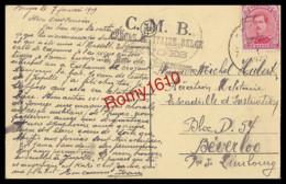 BRUGES-  C.M.B. Cercle Militaire Belge, 1919. Porte De Gand. Envoyée Vers Aviation Militaire Béverloo. Voir Les 2 Scans - Military Post
