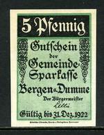 257-Bergen An Der Dumme 5, 10, 25 Et 50pf 1922 - [11] Emissions Locales