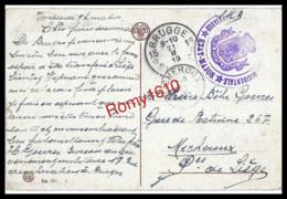Belgique 1919. Bruges.  Een Oud Kwartier. Flandre Occidentale Gouvernement Etat-Major. Brugge Vers Micheroux.  2 Scans. - Military Post