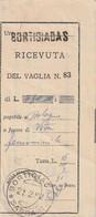 A78. 1952. Bortigiadas. Annullo Guller BORTIGIADAS *SASSARI* + Lineare, Su Ricevuta Vaglia - 1946-60: Marcophilie